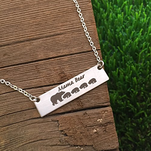 Mama Bear 4 Cubs Necklace Bar Necklace Bar Jewelry Mom Necklace Bar Jewelry For Mom Gift Mother's Day Birthday Gift for Mom Mama Bear Necklace (Mothers Gifts For Birthday)