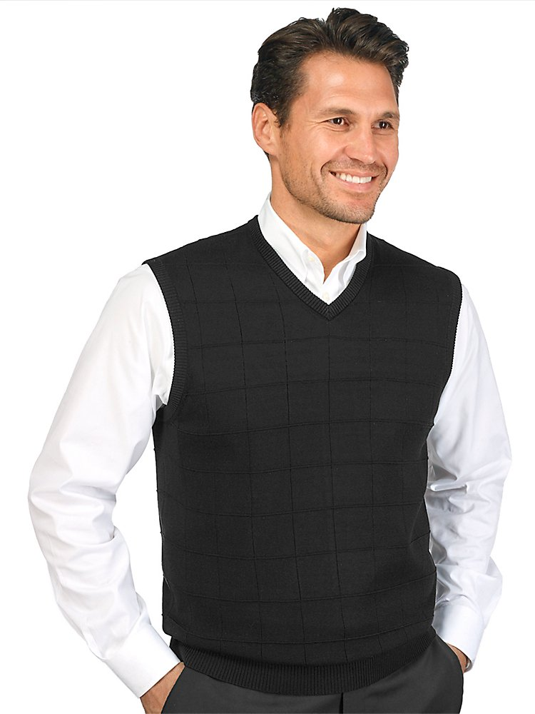 Paul Fredrick Men's Silk Grid V-Neck Vest Black Small by Paul Fredrick