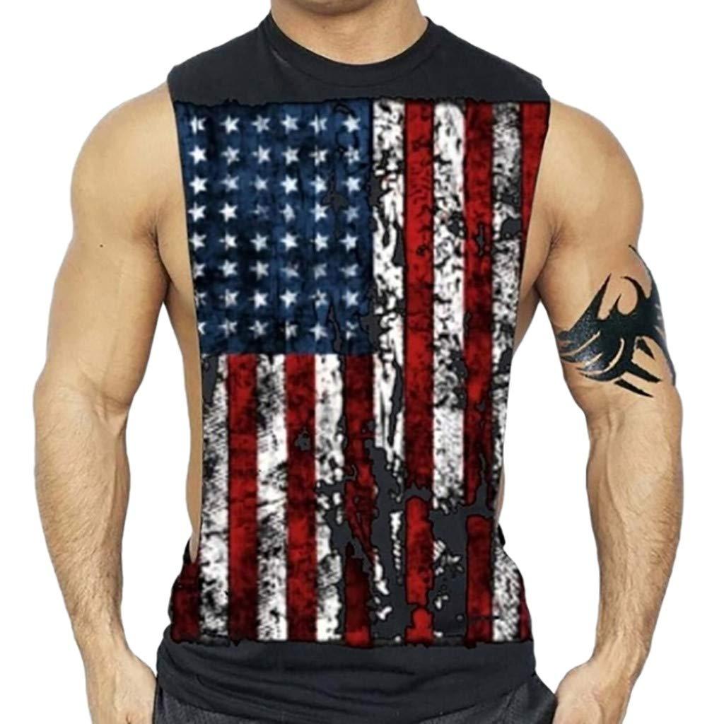 Men Tanks Tops Shirt Printed Sports Vest Sleeveless Bodybuilding Tee Workout Shirts (XL, Black)