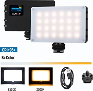 VILTROX LED On Camera Video Light, Mini Rechargeable 3000mAh Built-in Lithium Battery 8W/720LM CRI95+ Bi-Color 2500K-8500K Portable Professional Photography Lamp for Shooting YouTube Vlog Filming