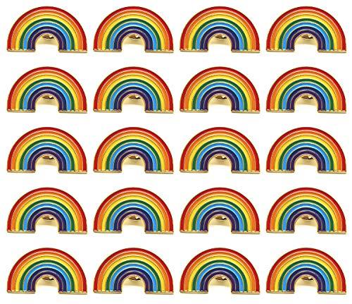 TANG SONG 20PCS Pride Pin Rainbow Gay Pride Flag LGBT Enamel Lapel Pin Pin Decoration for Clothes and Bags ()