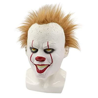Bulex Clown Mask Horror Halloween Costume Party (Gold Wig Clown Mask): Clothing
