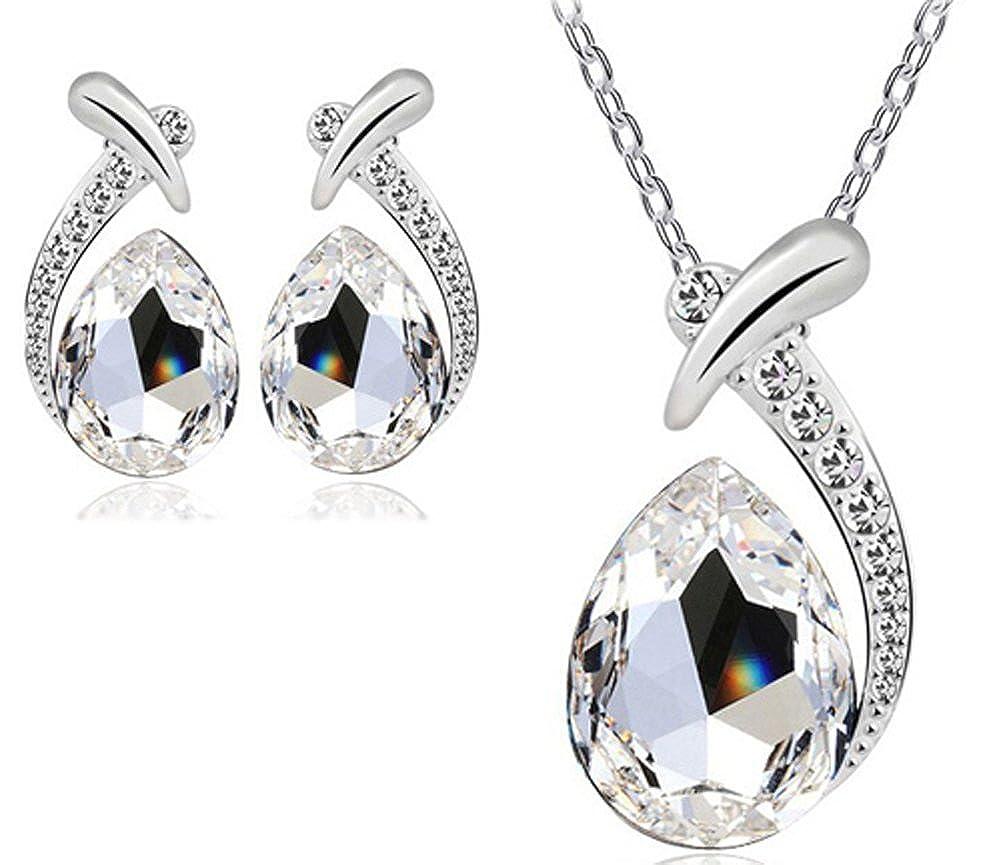 Jewelry Set Necklace Pendant and Earring Austrain Crystal AmaranTeen