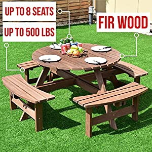 Wood Table & Bench Set 4-8 Seat Dark Brown for Picnic Lawn Patio Garden Yard Outdoor Beer Dining