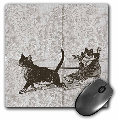 3dRose PS Vintage - Vintage Cat Sled with one in Shoe - Cute Animals - MousePad ()
