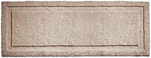 """mDesign Soft Microfiber Polyester Non-Slip Extra-Long Spa Mat/Runner, Plush Water Absorbent Accent Rug for Bathroom Vanity, Bathtub/Shower, Machine Washable - 60"""" x 21"""" - Linen/Tan"""