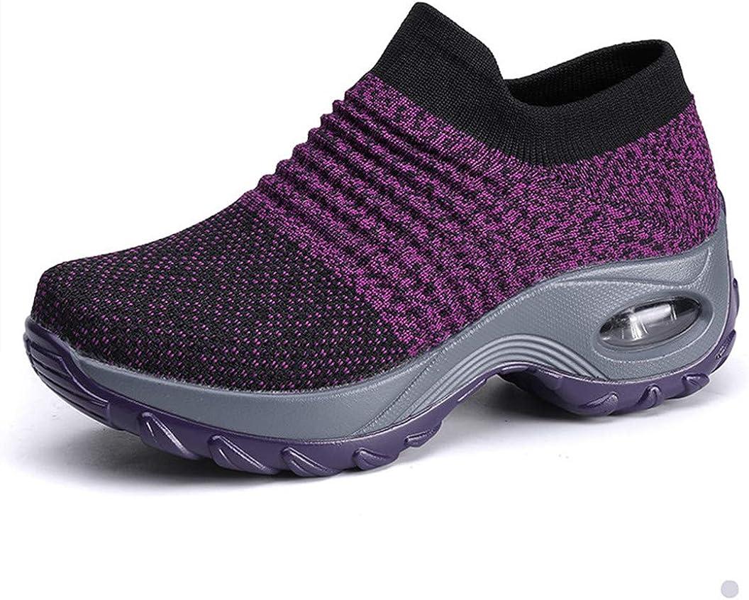 UareMgic Womens Nurse Shoes Walking Sock Sneakers Knit Platform Air Cushion Slip On Fitness Sneaker Work Shoes