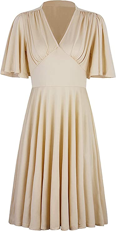 1920s Fashion & Clothing | Roaring 20s Attire VIJIV Womens Vintage 1920s V Neck Rockabilly Swing Evening Party Cocktail Dress with Sleeves $36.99 AT vintagedancer.com