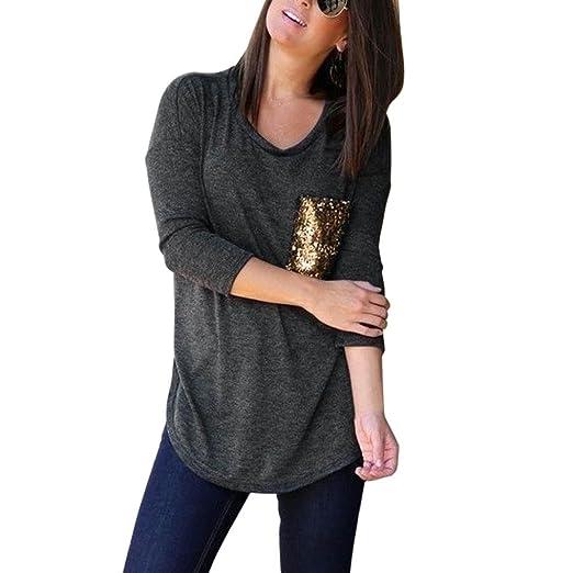 468fb4f4075 Goddessvan Womens Pocket Sequins Bling Tops Casual O-Neck Pullover T-Shirt  Blouse (