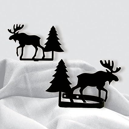Hierro diseño de alce y pino cortina (cuentas alzapaños – Set de color negro Metal