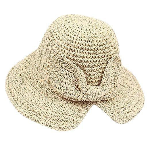 7d54d8e4 Women Wide Brim Straw Summer Sun Handmade Sun Protection Hat Bow Foldable  Beach Cap for Golf