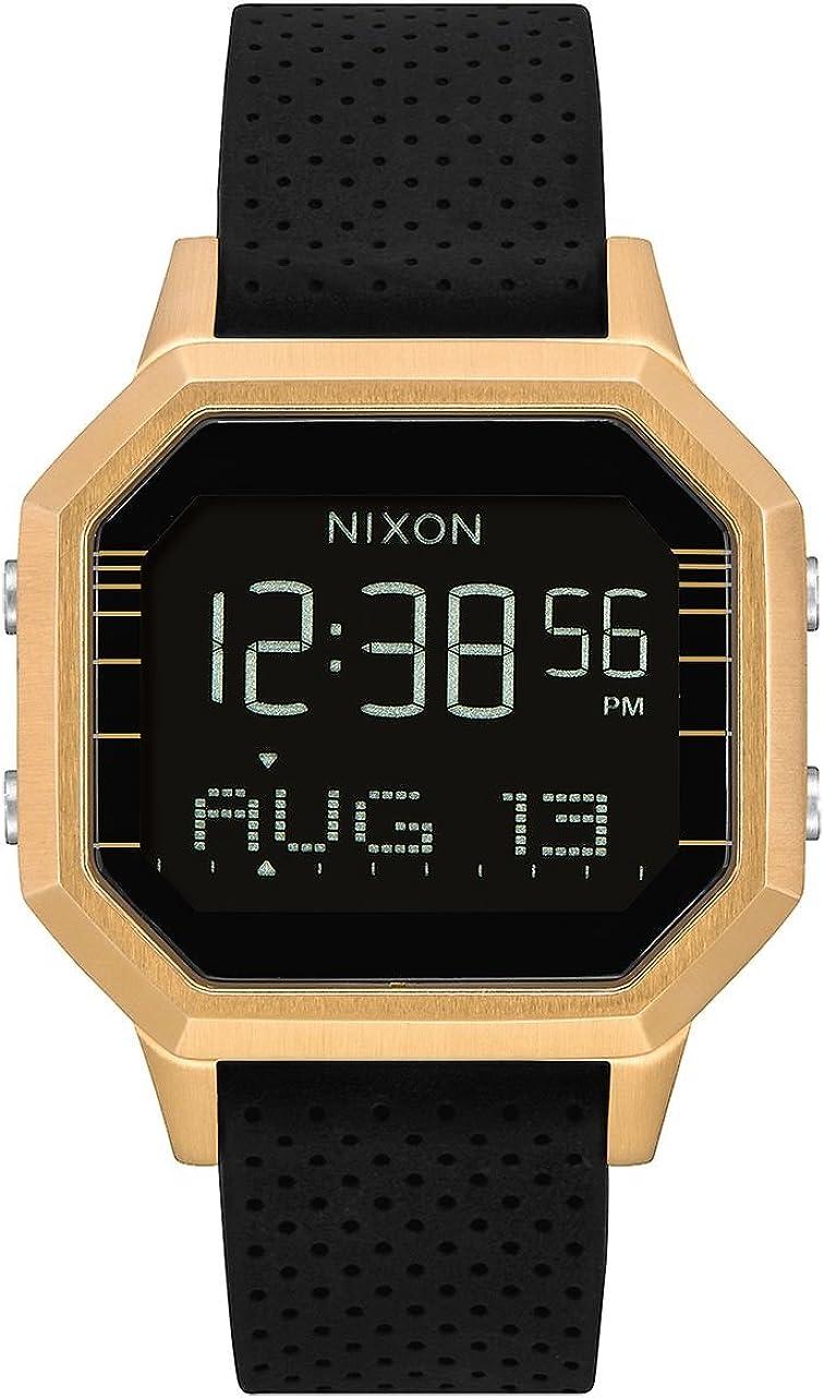 Nixon Siren SS A12112970 - Reloj Digital para Mujer con Caja Dorada y Correa de Silicona Negra.