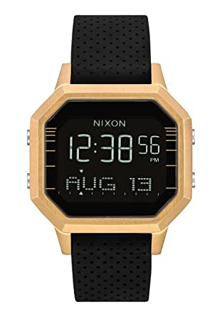 Nixon Siren SS A12112970 - Reloj digital para mujer con caja dorada y correa de silicona negra.: Amazon.es: Relojes