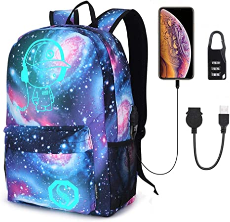 Fashion Galaxy Backpack Luminous Sky Shoulder Schoolbag Travel Rucksack