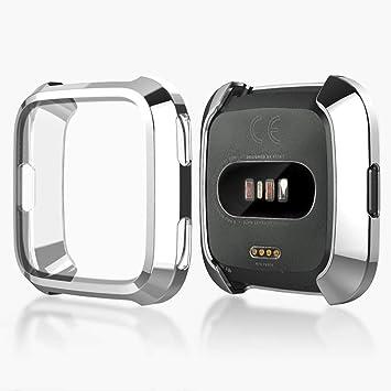 KTcos Funda protectora Fitbit Versa, Protector de pantalla delgado Funda plateada TPU resistente a los arañazos para reloj inteligente Fitbit Versa (Plata): ...