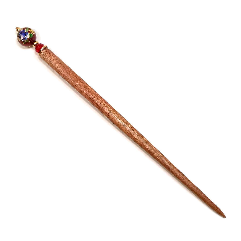 Dark Red Tensha Beaded Wood Hair Stick Laying Tool