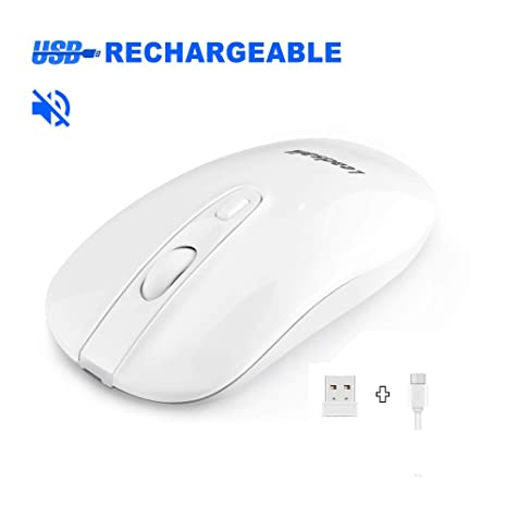 LeadsaiL Raton Inalámbrico Recargable Portatil, Ratones Ordenador Portatil Silencioso,2.4G Wireless Mouse Ergonómico