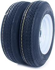 Motorhot 2 pcs 5.30x12 Bias Trailer Tires & Rims 12 inch LRC 6 Ply 4 Lug White Trailer Wheels 5.30-12