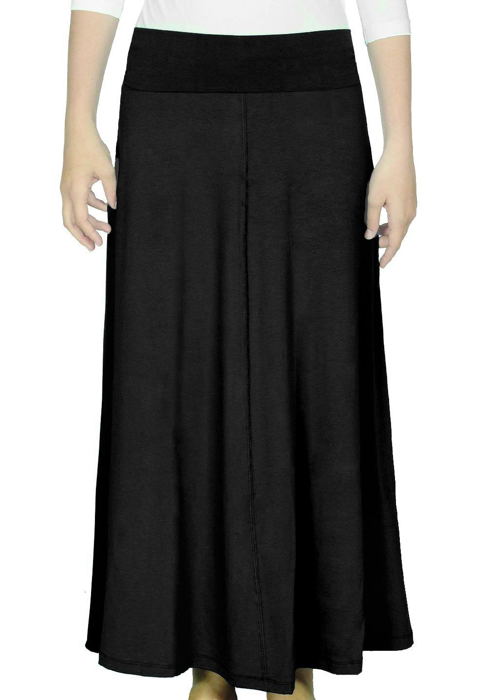Kosher Casual Kids Big Girls' Modest Long Flowing Maxi Skirt Medium Black