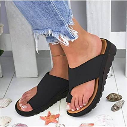 PU Leather Casual Feet Correct Flat Sole Sandal,Women Comfy Platform Sandal Shoes Summer Beach Travel Shoes for Girlfriends and Mother,Black,36