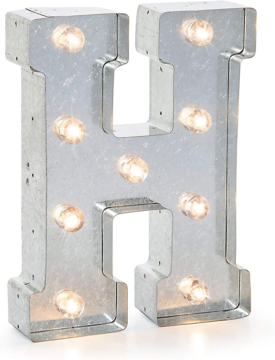 """N Galvanized Silver Finish Darice 5915-715  Silver Metal Marquee Letter 9.87/"""" Tall"""