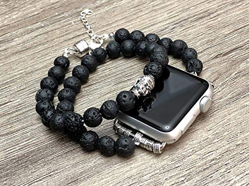 Black Lava Stones Bracelet For Apple Watch All Series 38mm 40mm 42mm 44mm Handmade Double Wrap Natural Volcanic Beads Adjustable Size Apple iWatch Band Silver Buddha Head Charm Apple Watch - Artisan Beads Natural