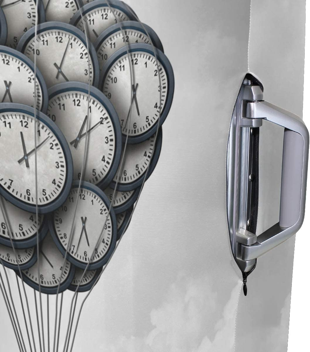 FOLPPLY Retro Clock Hot Air Balloon Luggage Cover Baggage Suitcase Travel Protector Fit for 18-32 Inch