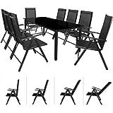 Salon de jardin - Ensemble table et chaises Bern 8 et 1 en aluminium avec chaises pliables