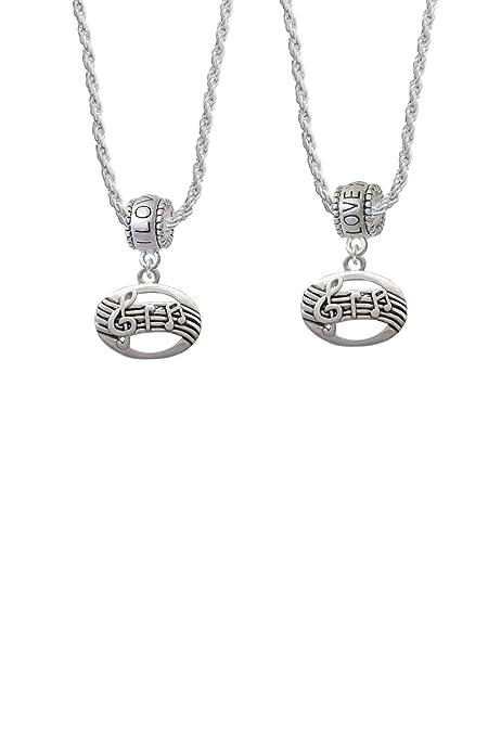 92312eb586df Oval con música notas I Love You More collar de perlas conjunto de 2   Amazon.es  Joyería