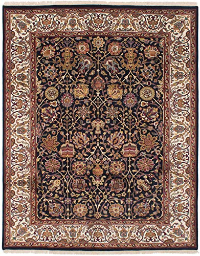 (eCarpet Gallery Large Area Rug for Living Room, Bedroom | Hand-Knotted Wool Rug | Finest Agra Jaipur Bordered Black Rug 7'11