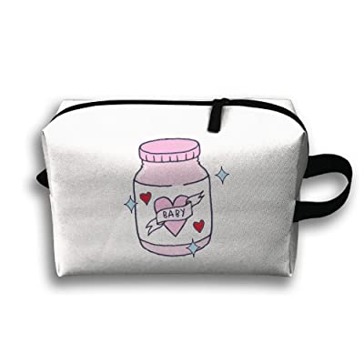 Pinkipory Portable Travel Makeup Bag Zippered Carry Pouch Pink Bottle