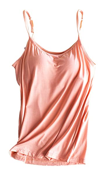 15234d6f1e358 Womens Adjustable Strap Built-in Bra Padded Active Summer Camisole Tank Top  Pink US 0