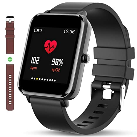 Zagzog Bluetooth Smart Watch:All-Day Heart Rate and Activity Tracking, Sleep Monitoring, Ultra-Long Battery Life, Bluetooth (Black/Black)
