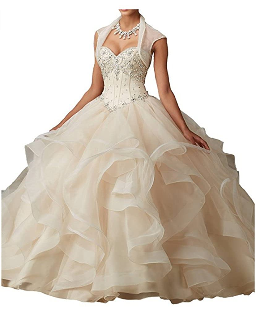Champagne FWVR Women's Crystals Asymmetric Long Puffy Prom Quinceanera Dresses Ball Gown