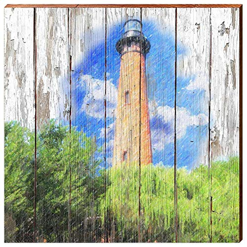 - Currituck Lighthouse Rustic Home Decor Art Print on Real Wood (18