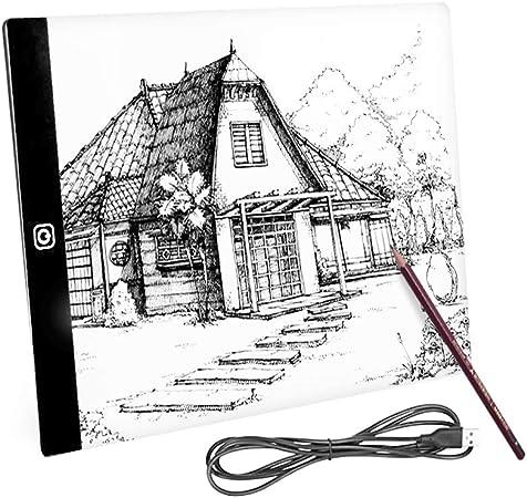 A4 / A5 3MM Ultrafino Caja de luz para dibujar, USB Copy Board Brillo ajustable Dibujo Lightbox Display Pad para Rastreo Artistas Animación Bocetos Diseño (A5): Amazon.es: Hogar