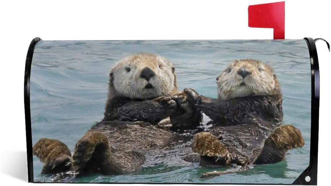 QPKML Sea Otters Holding Hands Meets US Postal Requirements Magnetic Mailbox Cover 21 W X18 L,25.5 W X21 L