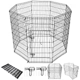 Yescom 48″ Tall Pet Dog Playpen Foldable Metal Exercise Fence Cage Kennel with Door 8 Panel Outdoor Indoor Review
