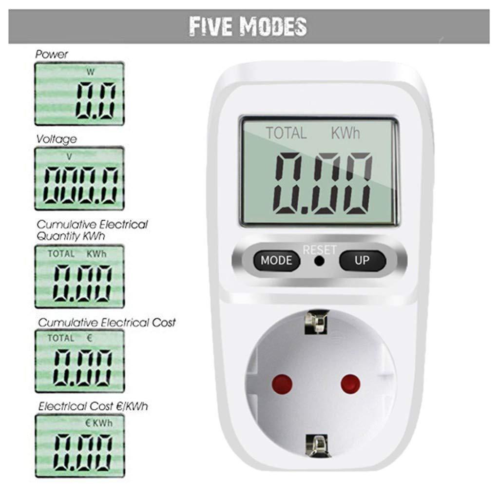 Masrin Energiekostenmesser Stromz/ähler Leistung Energiekostenmesser LCD-Bildschirm 3680W Weiss