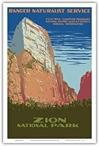 Zion National Park - Great White Throne Mountain - Ranger Naturalist Service - Vintage World Travel Poster by Work Projects Administration (WPA) c.1938 - Master Art Print - 12in x 18in