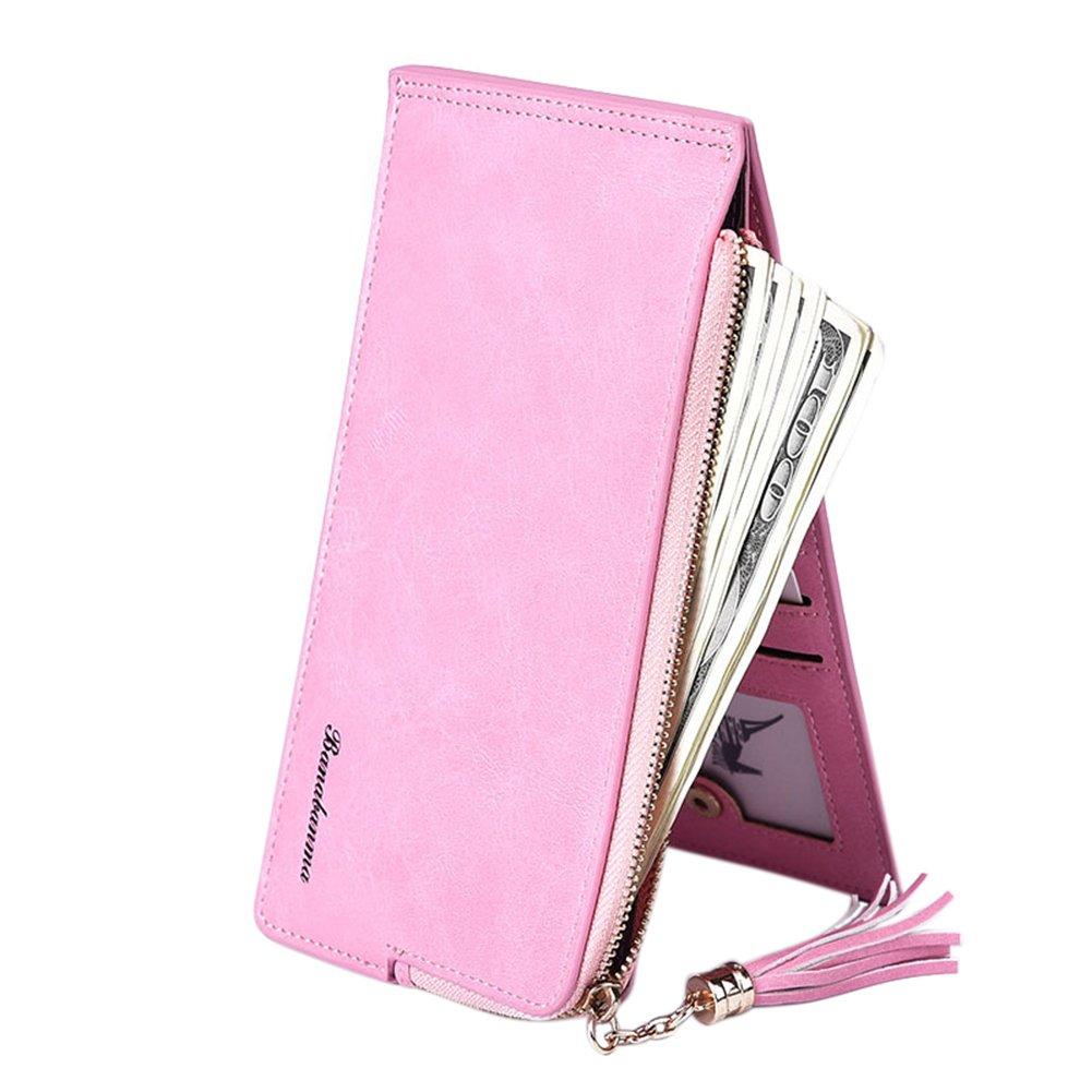 ShiningLove Fashion Retro Women Multipurpose Ladies Scrub Leather Long Clutch Purse Tassel Card Holder Pouch