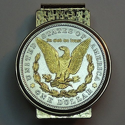 U.S. Morgan silver dollar eagle - - Gorgeously 2-Toned (Uniquely Hand done) Gold on Silver coin Hinged money clip for men for dad Christmas groomsmen birthday for him for women by J&J Coin Jewelry