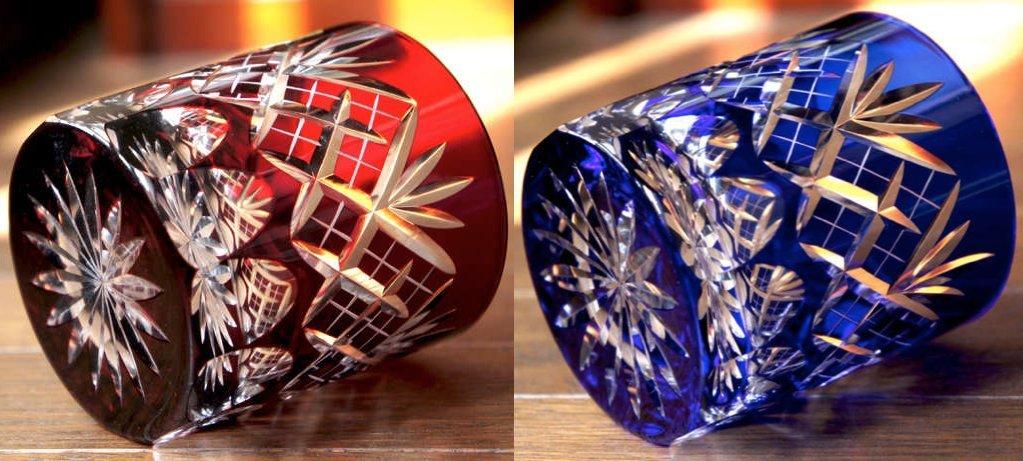 Japanese Edo-Kiriko (Cut Glass) Old Pair 9.3oz, Kenyarai-kasane Pattern,Red & Blue