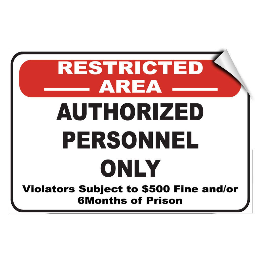 Amazon com allstick shopforallyou stickers x 7 restricted area violator subject to 500 fine 6 month prison label decal sticker home