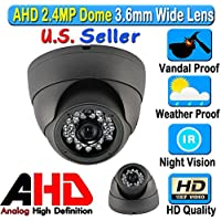 LEXA AHD 2.4MP 1080P Dome 1/2.9 Sony Sensor 3.6mm Wide Angle Lens Vandal Weather Water Proof New IR Tech. 60FT Night Vision BNC Connection Outdoor CCTV Black Camera Analog High Definition HD