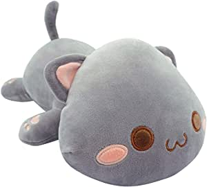 "Cute Kitten Plush Toy Stuffed Animal Pet Kitty Soft Anime Cat Plush Pillow for Kids (Gray A, 12"")"