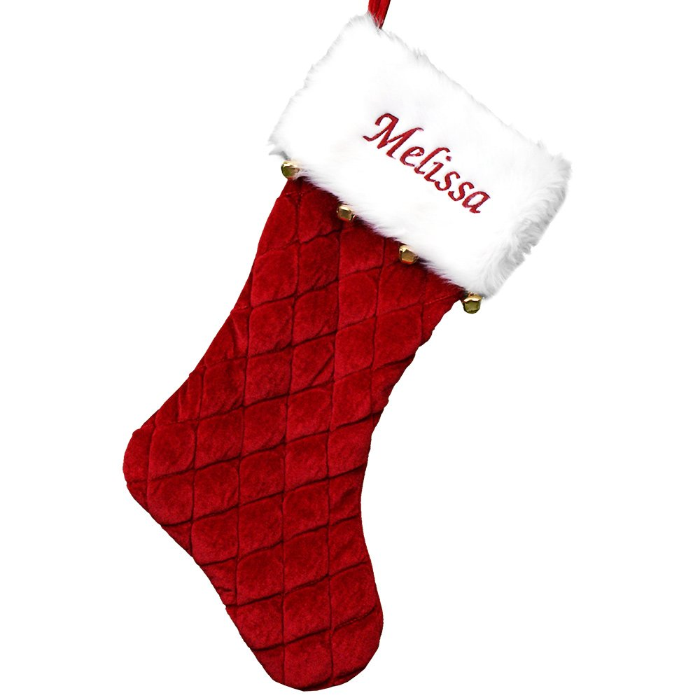 Amazon.com: GiftsForYouNow Red Quilted Personalized Stocking with ...