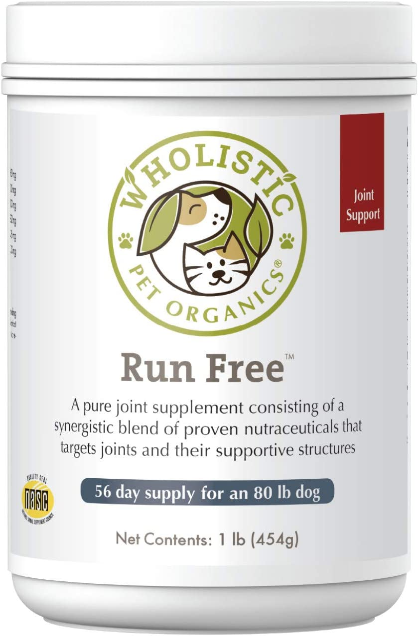 Wholistic Pet Organics Run Free: Dog Joint Health Supplement - Natural Hip and Joint Supplement for Dogs Mobility Support - Dog Glucosamine Supplements with MSM and Chondroitin