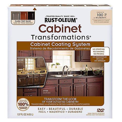 RUST-OLEUM 258240 Dark Tint Base Cabinet Transformations Kit, (Glaze Wood Cabinets)