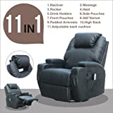 MSG Massage Recliner Leather Sofa Chair Ergonomic Lounge Swivel Heated with Control Black